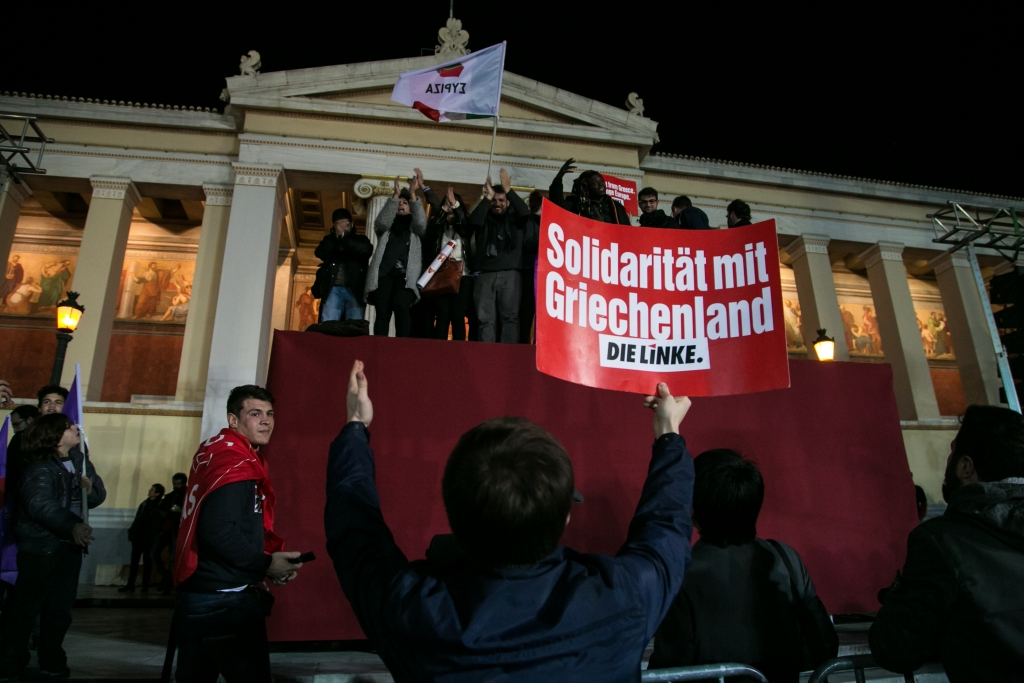 Syriza's supporters come from all over Europe. Photo by Sofia Zachariadi.