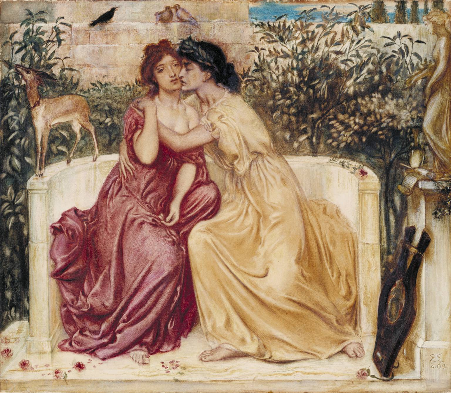 """Simeon Solomon 'Sappho and Erinna in a Garden at Mytilene'"", watercolor painting by Simeon Solomon"